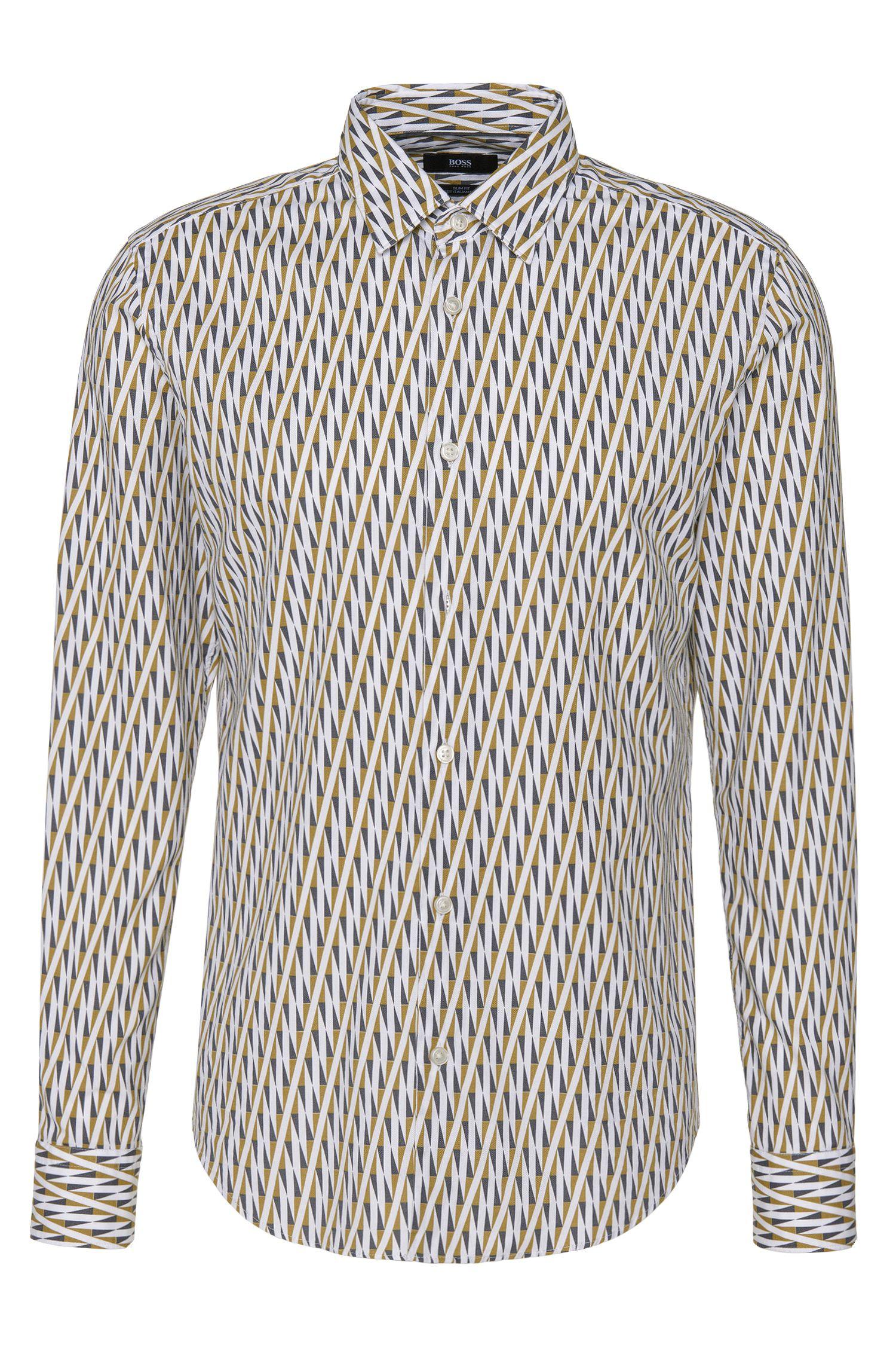 Gemustertes Slim-Fit Hemd aus reiner Baumwolle: 'Ronni_F'