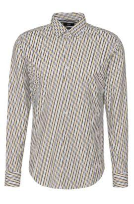Gemustertes Slim-Fit Hemd aus reiner Baumwolle: 'Ronni_F', Grün