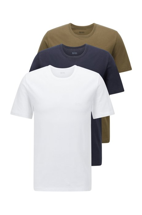 Three-pack of regular-fit cotton T-shirts, Blue / White / Green