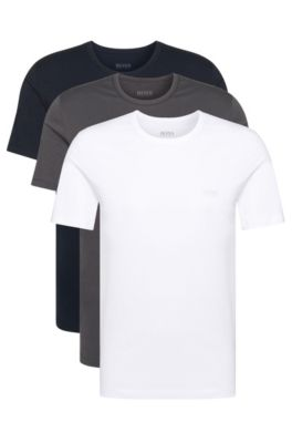 T-Shirts aus Baumwolle im Dreier-Pack, Weiß