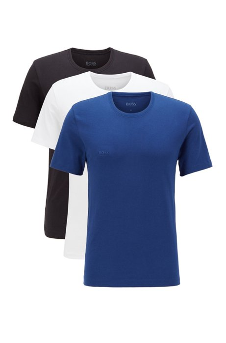 Regular-Fit T-Shirts aus Baumwolle im Dreier-Pack, Blau