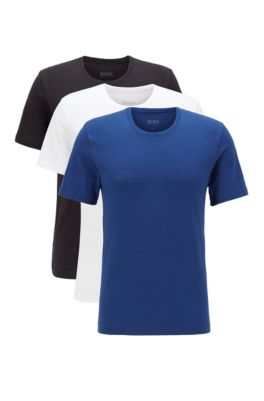 Three-pack of regular-fit cotton T-shirts, Black / White /Blue