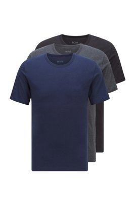 Three-pack of regular-fit cotton T-shirts, Black / Grey / Blue