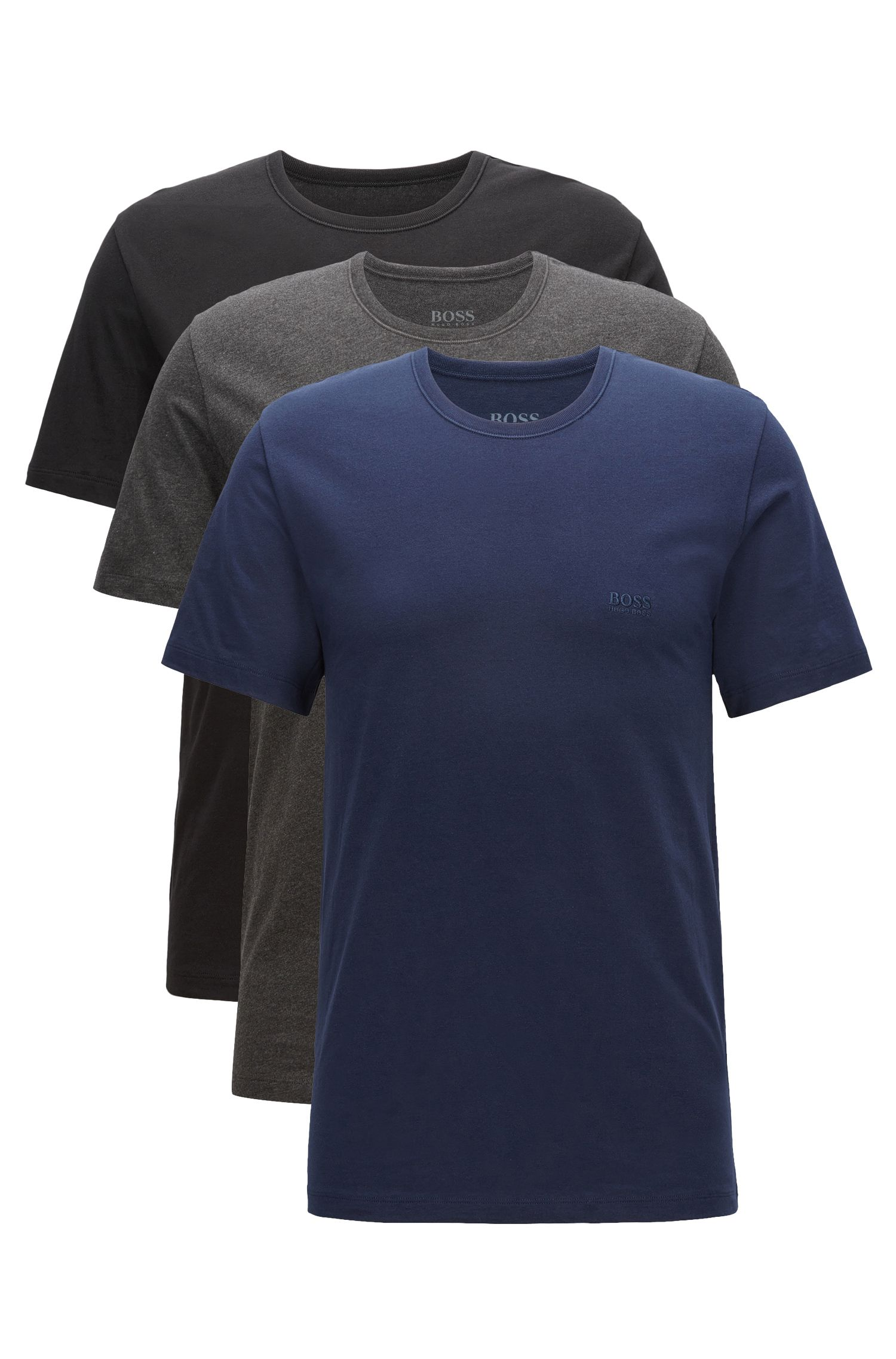 Lot de trois t-shirts Regular Fit en coton, Noir