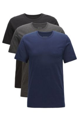 Three-pack of regular-fit cotton T-shirts, Black