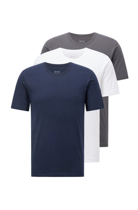 Three-pack of cotton underwear T-shirts with logos, Patterned