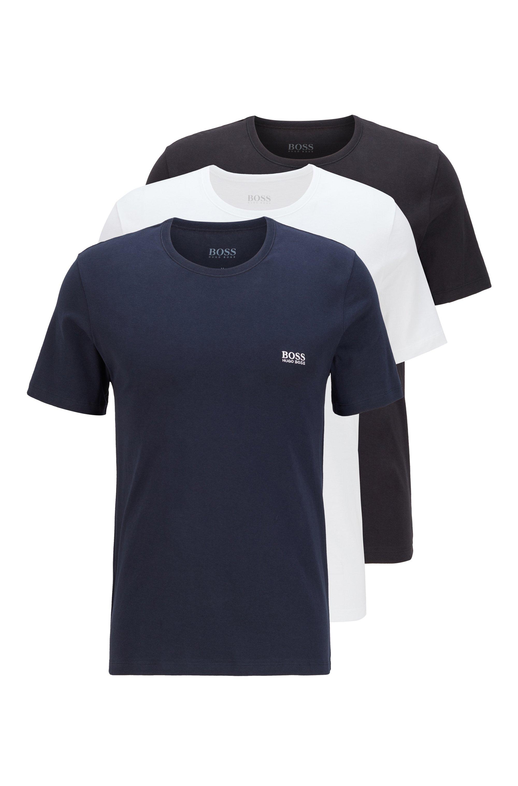 T-Shirts aus Baumwolle im Dreier-Pack, Dunkelblau