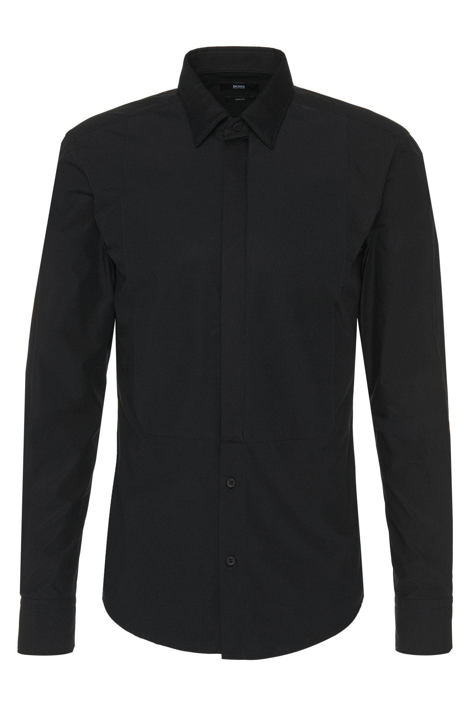Slim-Fit Hemd aus Baumwolle mit Plastron-Einsatz: 'Rosario'