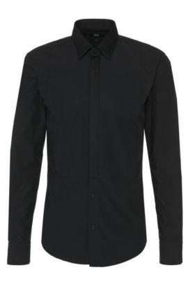 Camisa slim fit en algodón con aplique de corbatón: 'Rosario', Negro