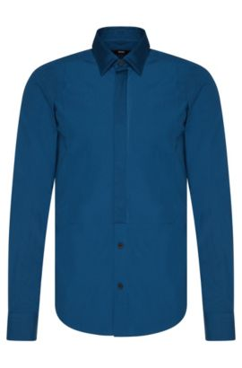 Slim-fit shirt in cotton with Ascot tie insert: 'Rosario', Turquoise