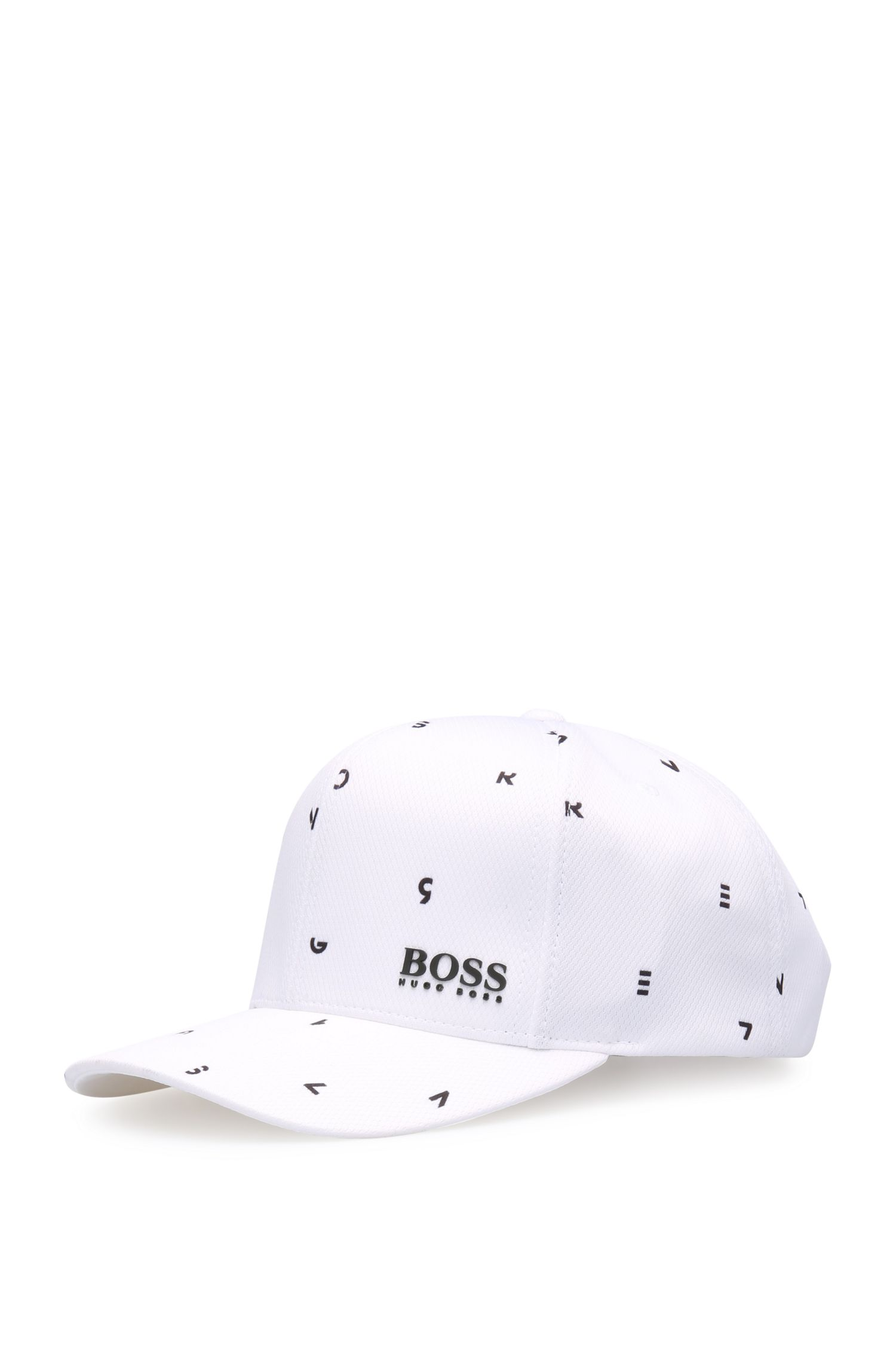 Printed baseball cap in finely textured material: 'Cap-Typografic'