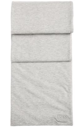Melierter Wende-Schal aus elastischer Baumwolle mit leichter Füllung: ´Scarf-Jersey`, Hellgrau