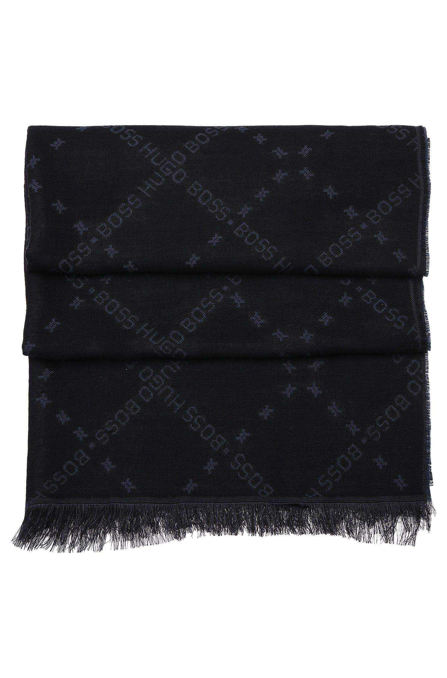 Patterned scarf in wool blend with modal: 'C-Calso'