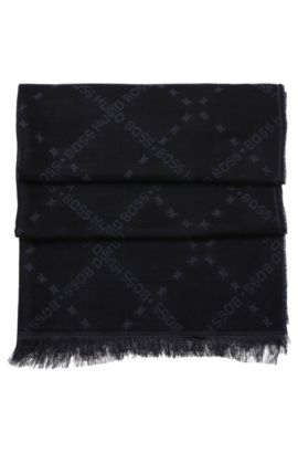 Patterned scarf in wool blend with modal: 'C-Calso', Black