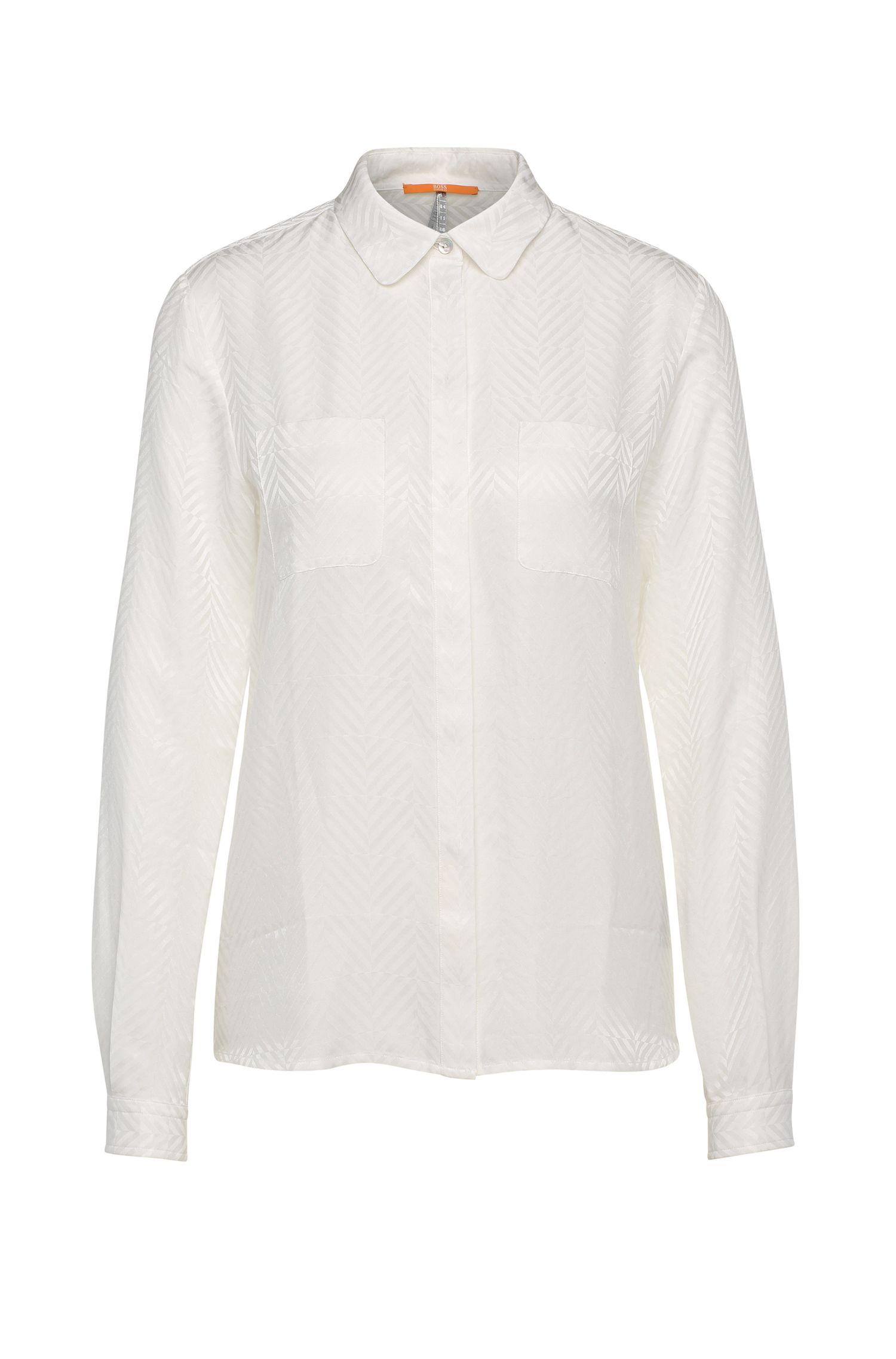 Texturierte Relaxed-Fit Bluse aus Baumwolle mit Seide: ´Ejey2`