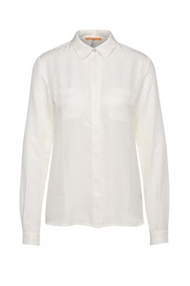 Textured relaxed-fit blouse in cotton blend with silk: 'Ejey2', White