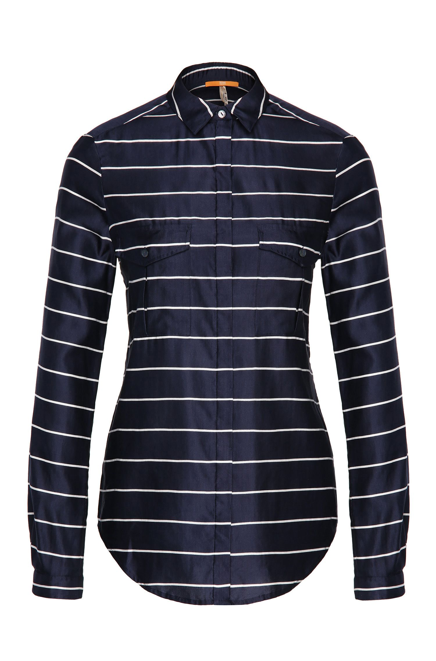 Blusa relaxed fit de rayas en algodón y seda: 'Emilitye_8'