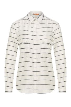 Striped relaxed-fit blouse in cotton and silk: 'Emilitye_8', Patterned