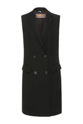 Long waistcoat in a fabric blend with viscose and elastane: 'Ovesta', Black