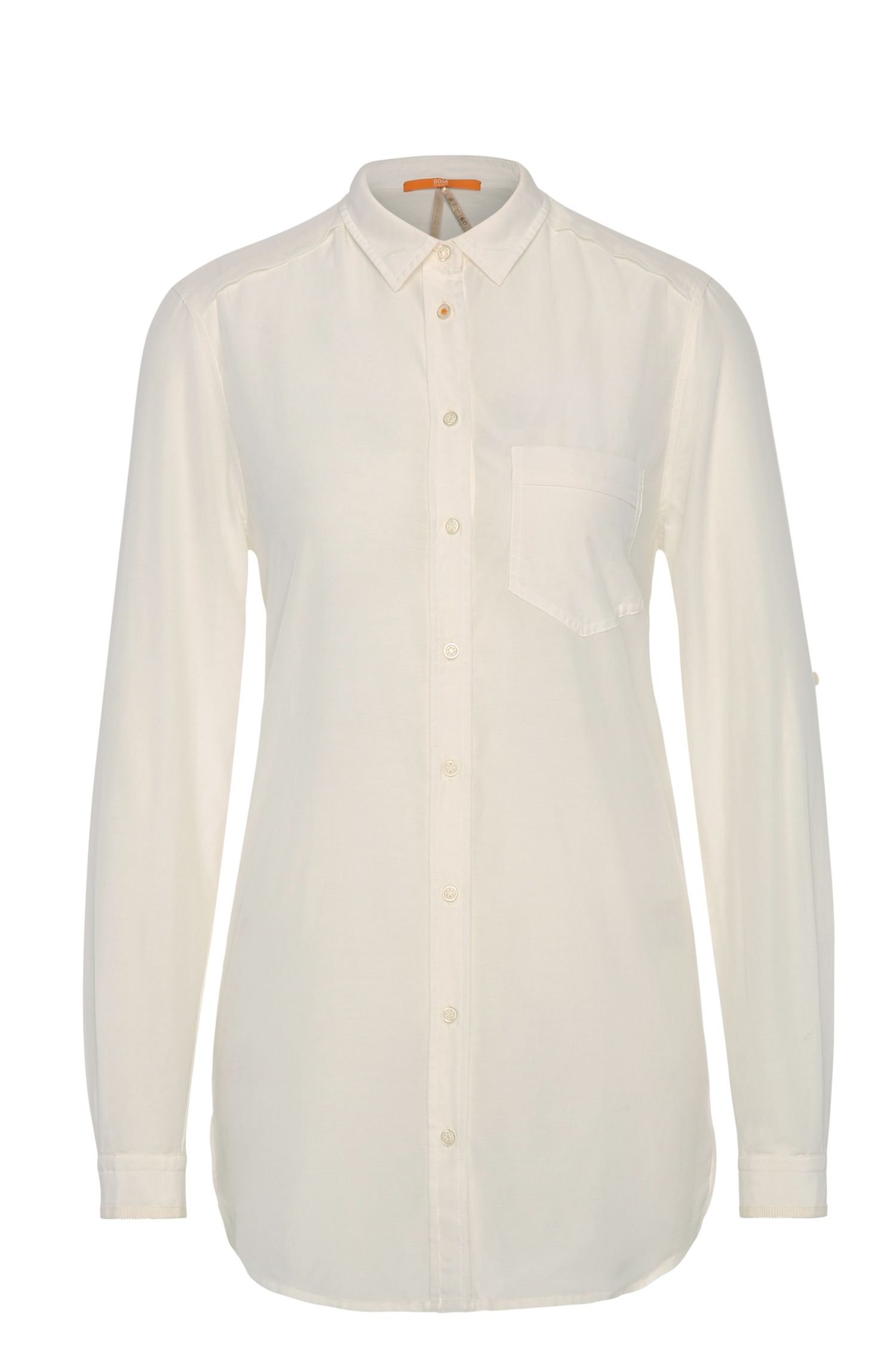 Relaxed-fit overhemdblouse van katoen met zijde: 'Chrisler3'