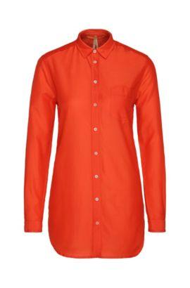 Blusa camisera relaxed fit en algodón con seda: 'Chrisler3', Rojo