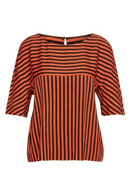 Striped top with half-length sleeves: 'Kariga', Patterned