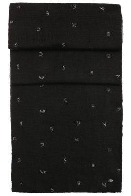 Tweezijdig te dragen sjaal van een wolmix met dessin: 'Scarf-Typoknit', Zwart