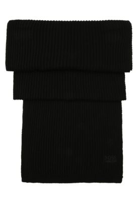 Set consisting of a beanie and scarf in pure cotton: 'Gift-Set', Black