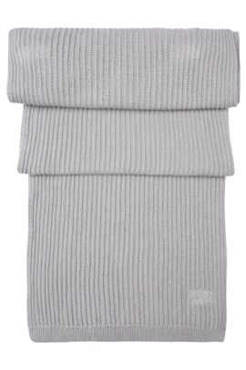 Set consisting of a beanie and scarf in pure cotton: 'Gift-Set', Light Grey
