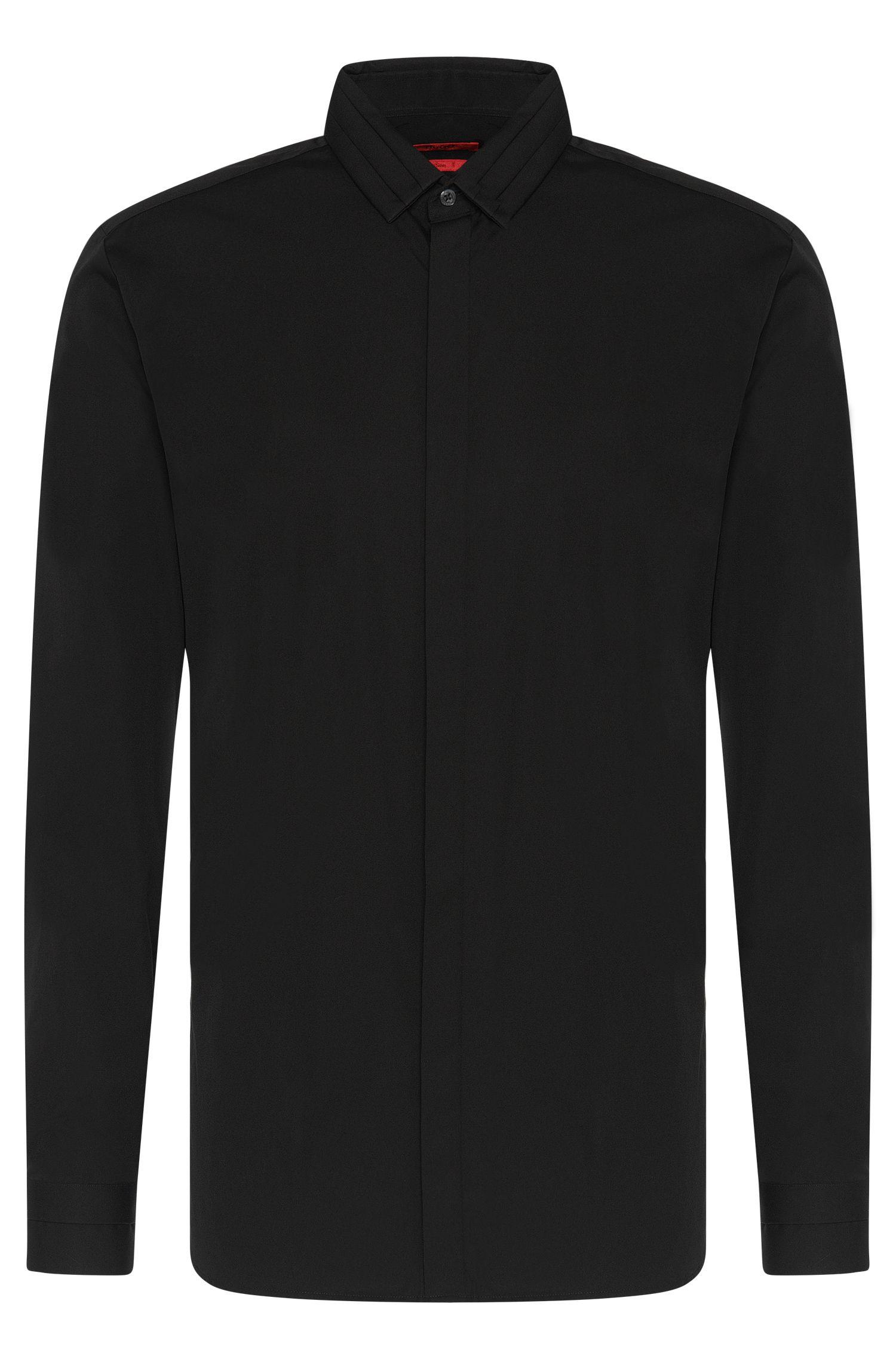 Unifarbenes Slim-Fit Hemd aus Baumwolle: 'Esid'