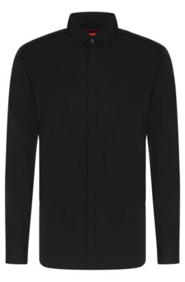 Plain slim-fit cotton shirt: 'Esid', Black
