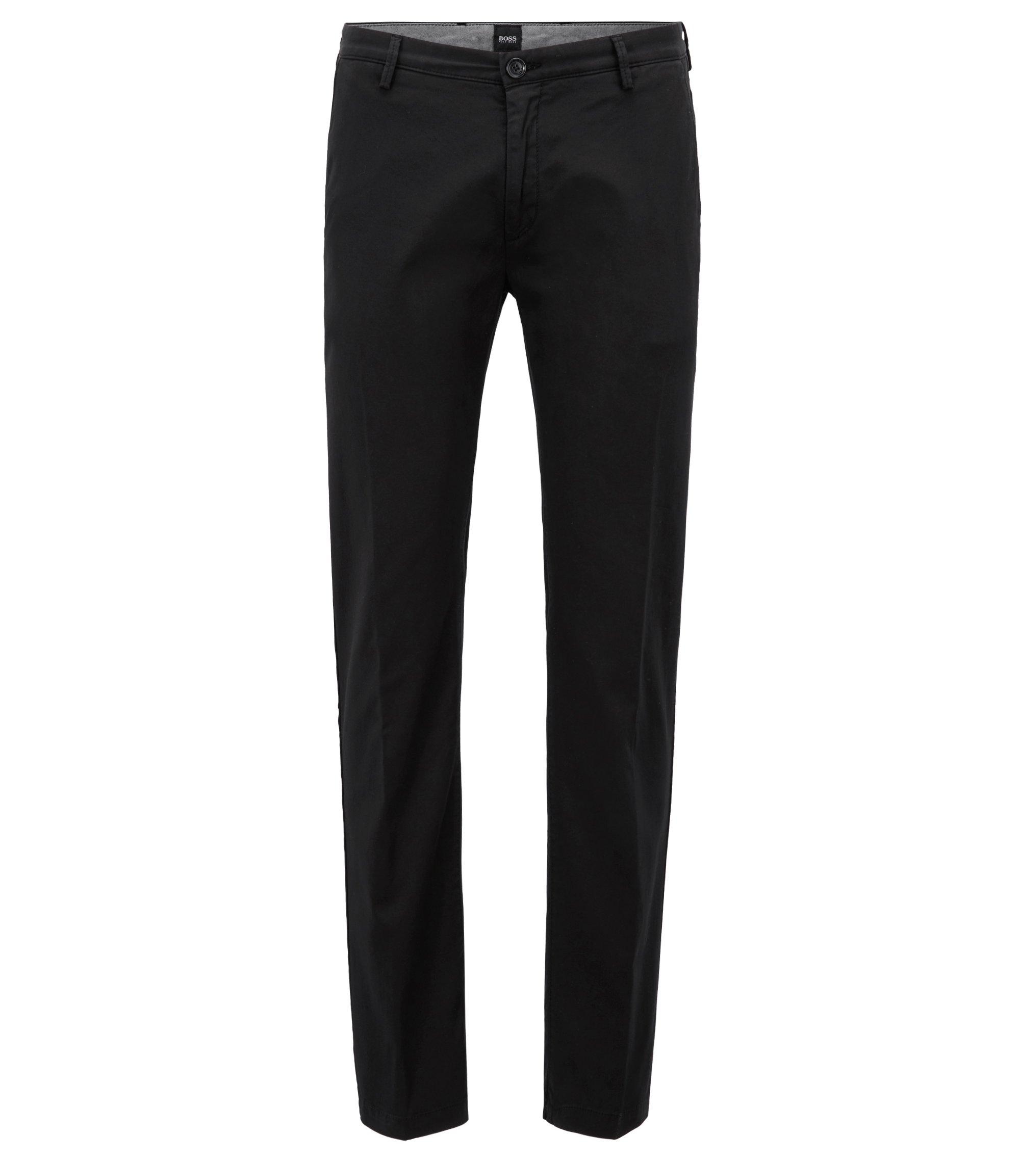 Slim-Fit Chino aus elastischer Baumwoll-Gabardine, Schwarz