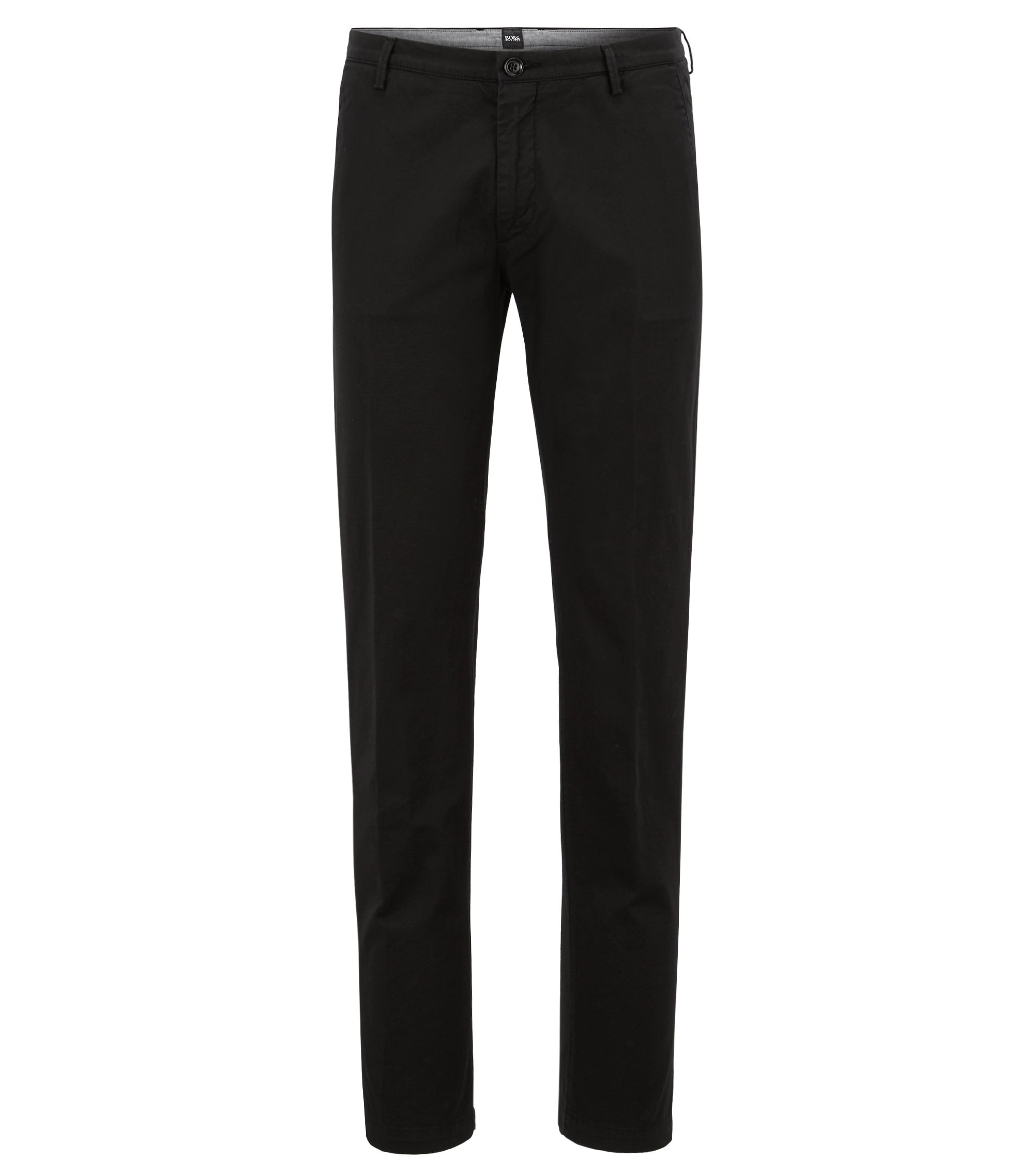 Slim-fit chino in een stretchtwill, Zwart