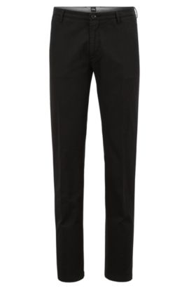 Chino slim fit in twill elasticizzato, Nero