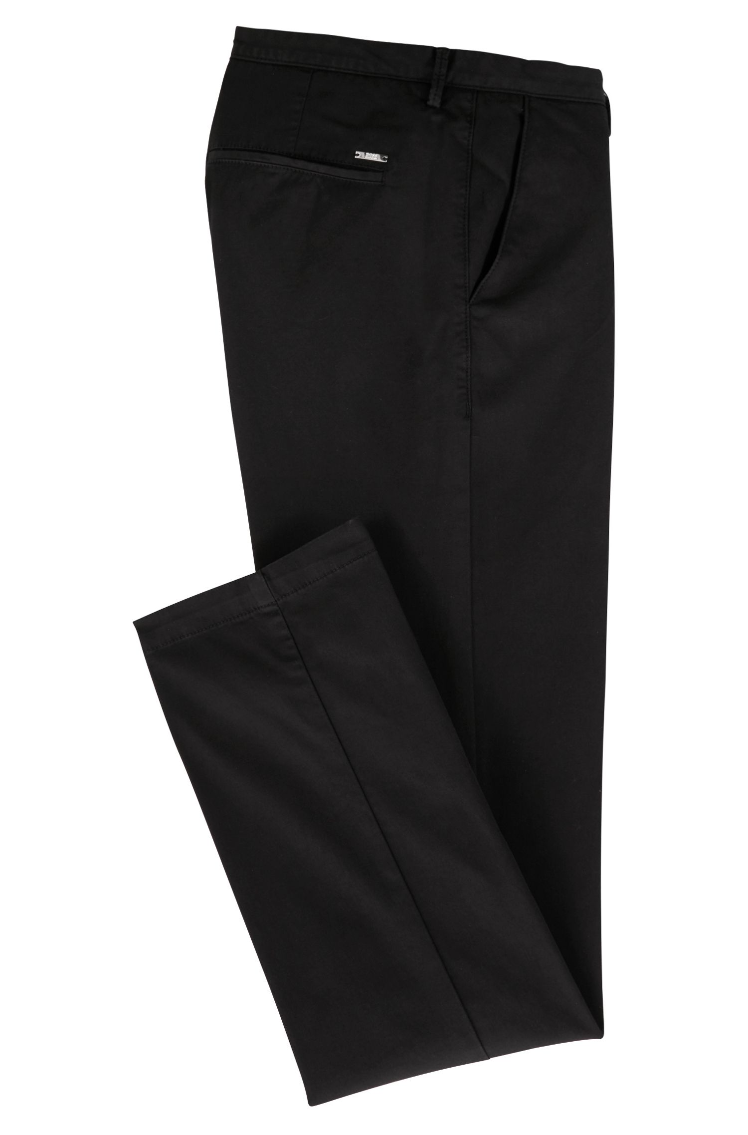 Slim-fit chinos in stretch cotton gabardine, Black