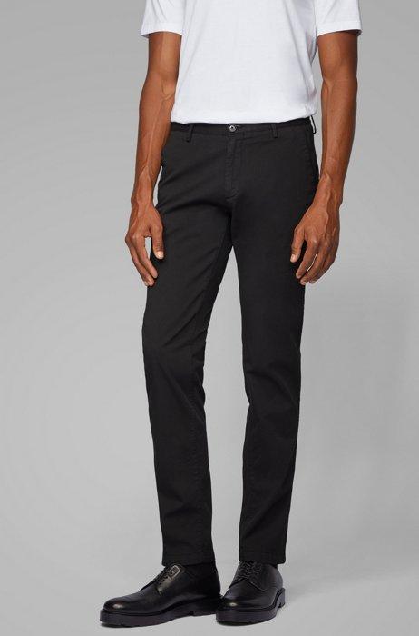 Slim-fit chinos in stretch cotton gabardine, Black