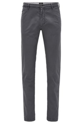 Chino Slim Fit en sergé stretch, Gris sombre