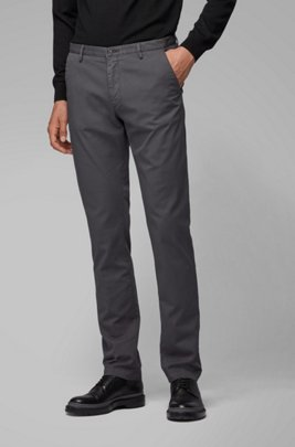 Slim-fit chinos in stretch cotton gabardine, Dark Grey