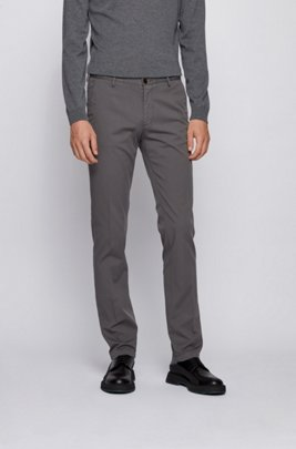 Slim-fit chinos in stretch cotton gabardine, Grey