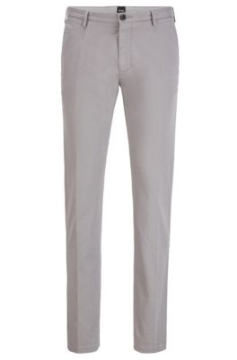 Chino Slim Fit en gabardine de coton stretch, Argent