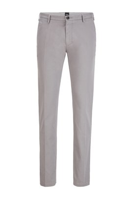 Slim-fit chinos in stretch cotton gabardine, Silver