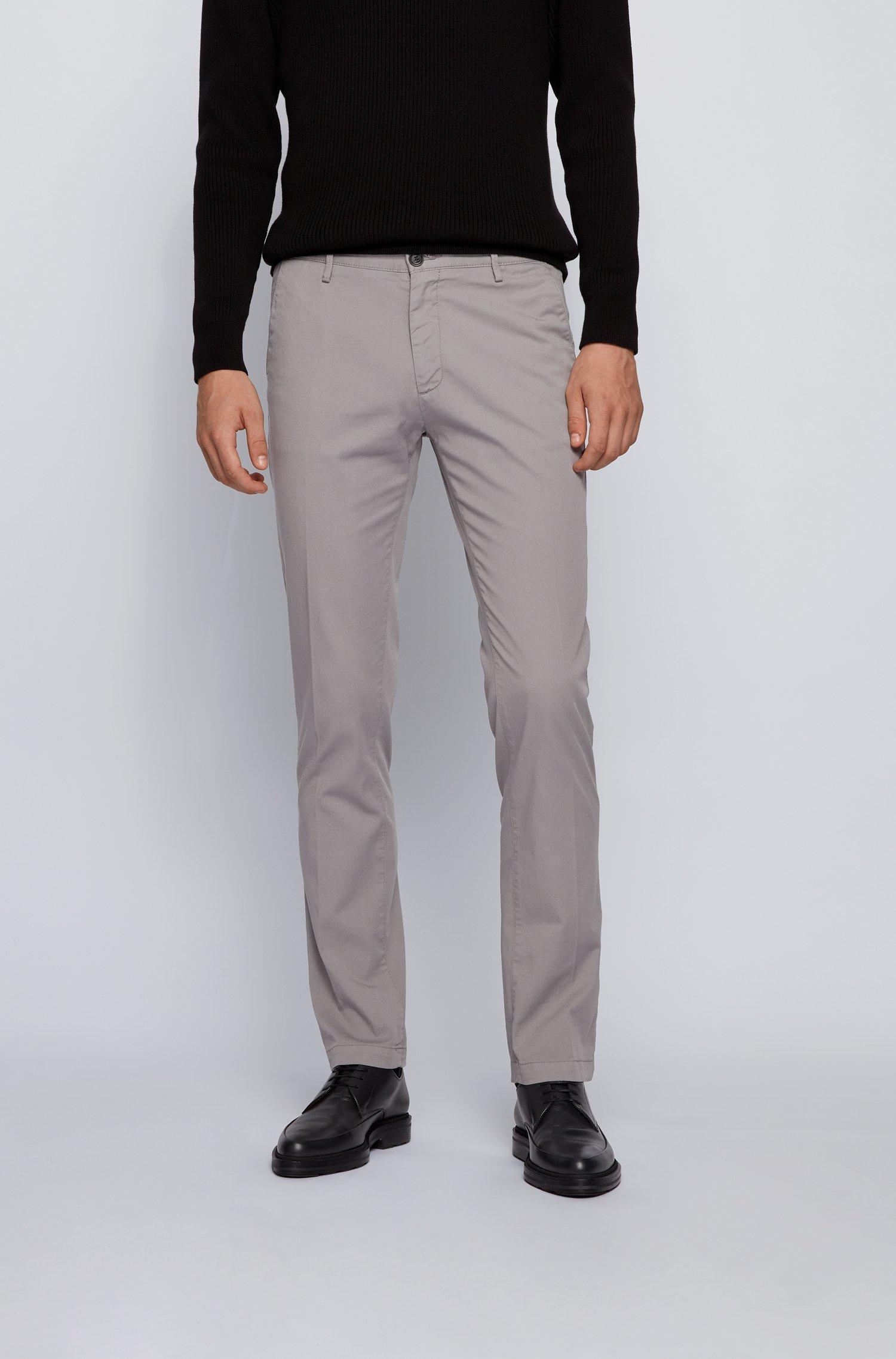 Slim-fit chinos in stretch cotton gabardine, Silver