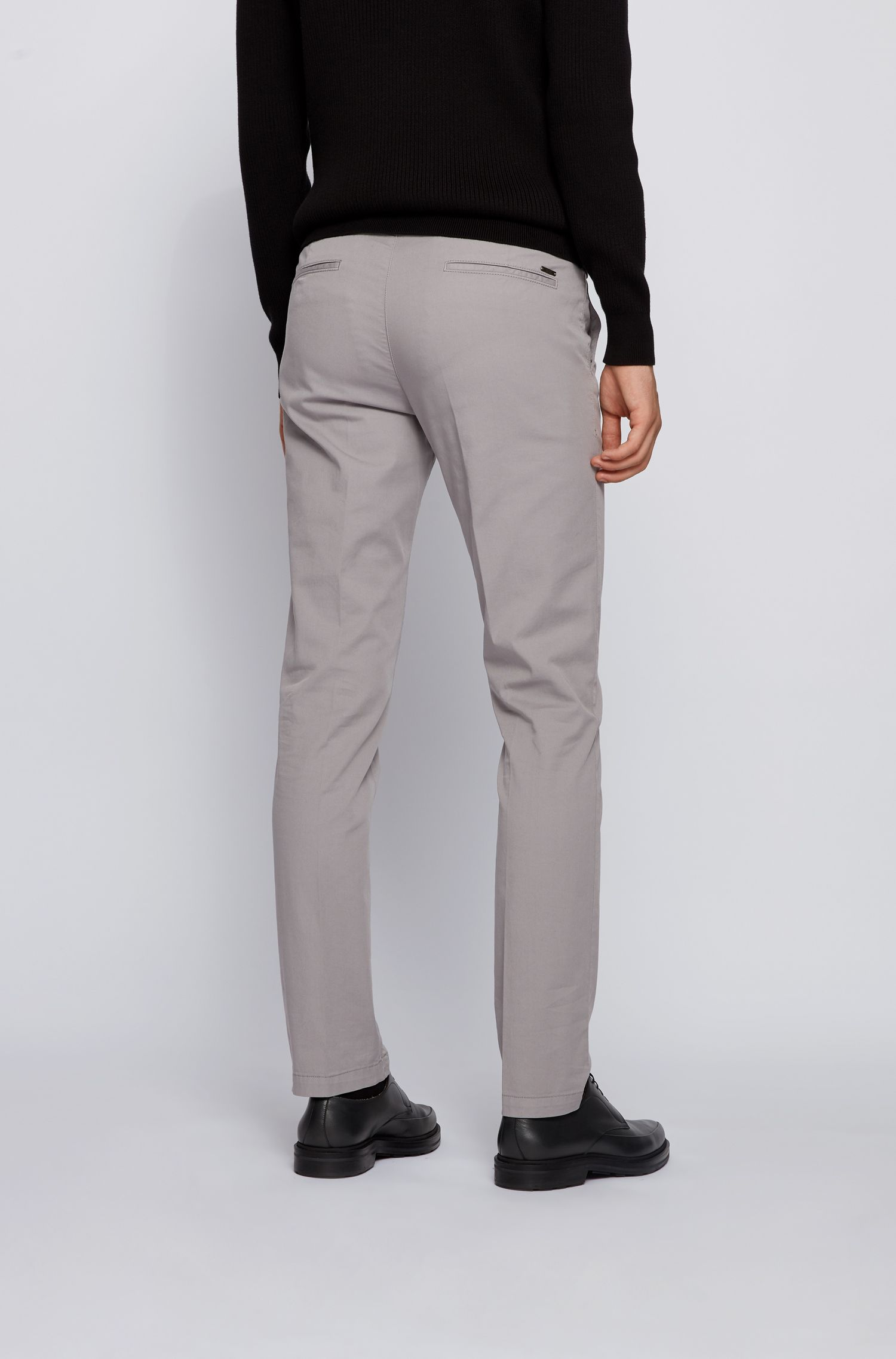 Slim-fit chino in een gabardine van stretchkatoen, Zilver