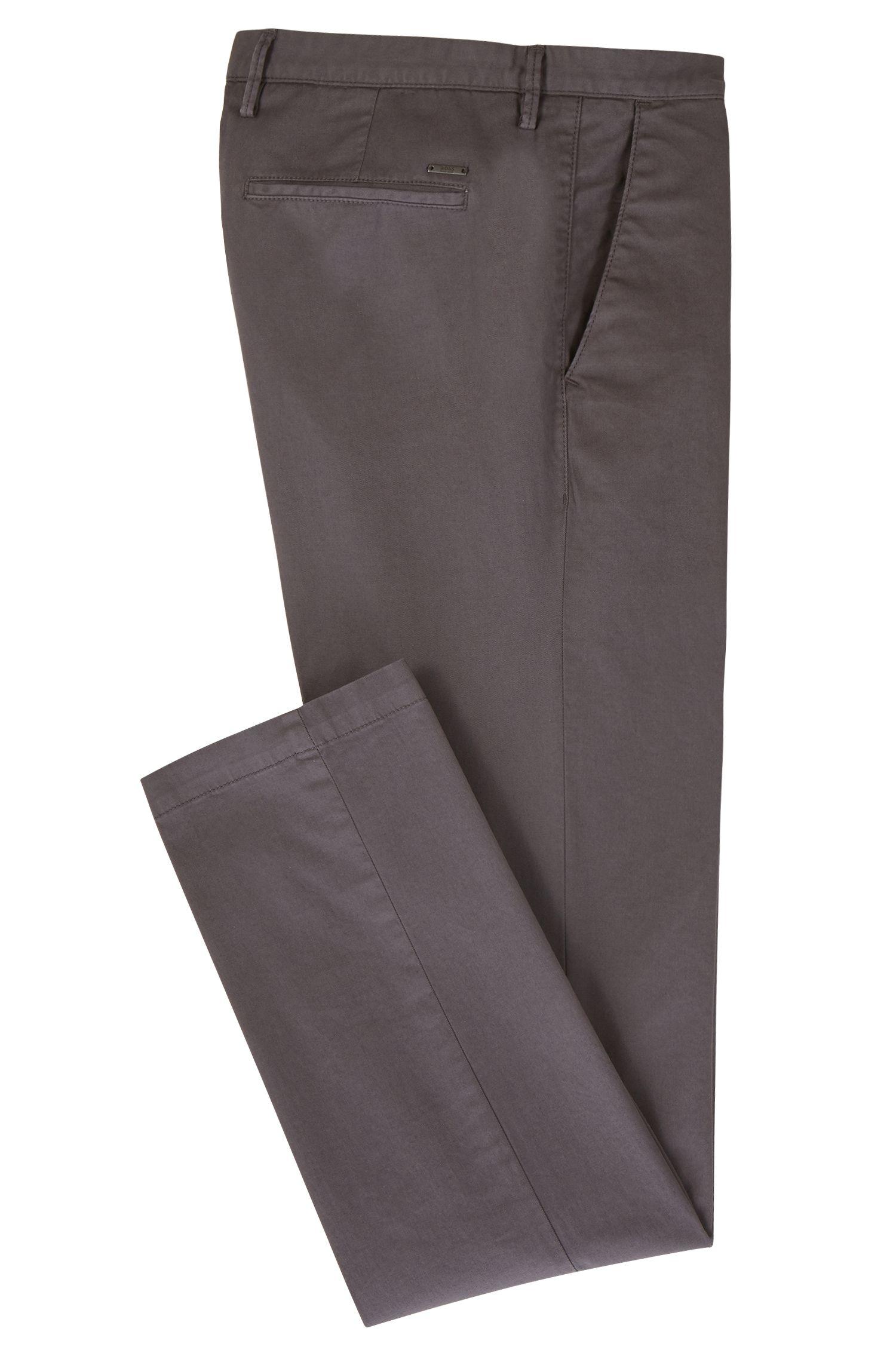 Chino Slim Fit en gabardine de coton stretch, Gris sombre
