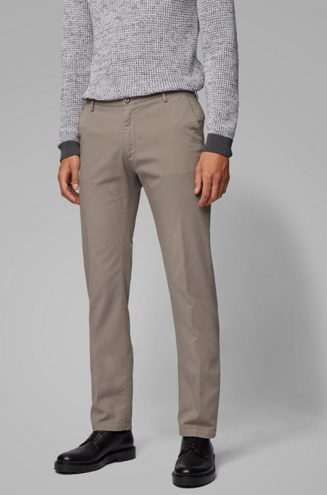 Chino Slim Fit en gabardine de coton stretch, Gris
