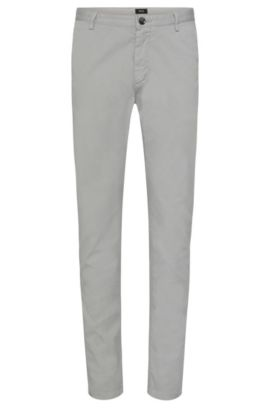 Slim-Fit Chino aus Stretch-Baumwolle, Hellgrau