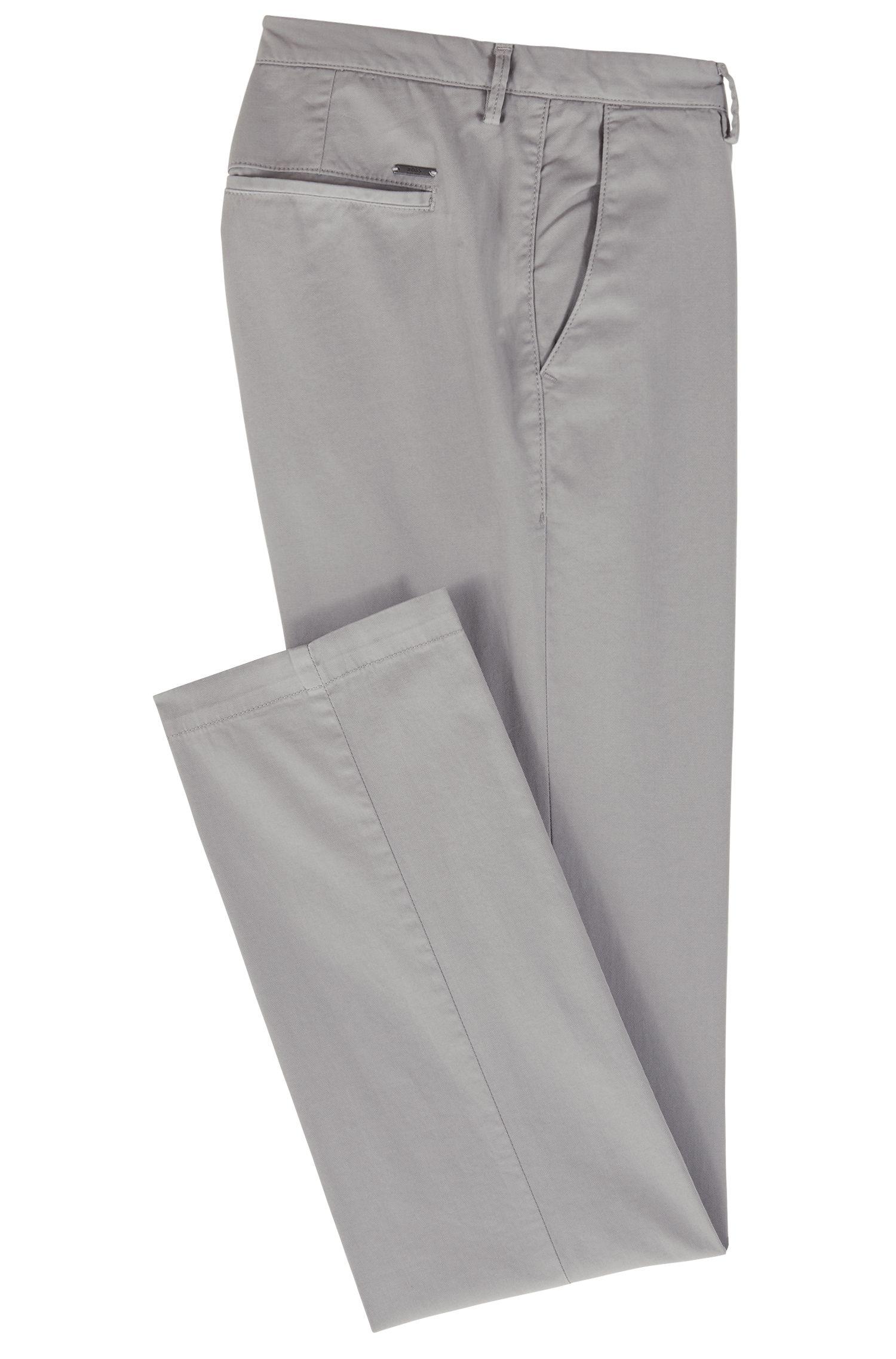 Slim-fit chino in een gabardine van stretchkatoen, Grijs