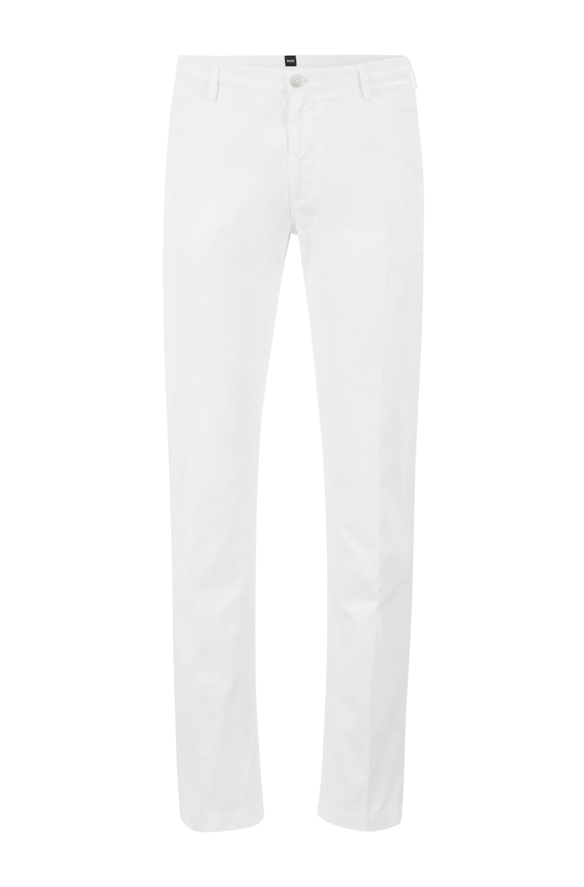 Slim-Fit Chino aus elastischer Baumwoll-Gabardine, Weiß