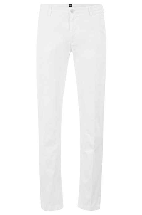 Chino Slim Fit en gabardine de coton stretch, Blanc