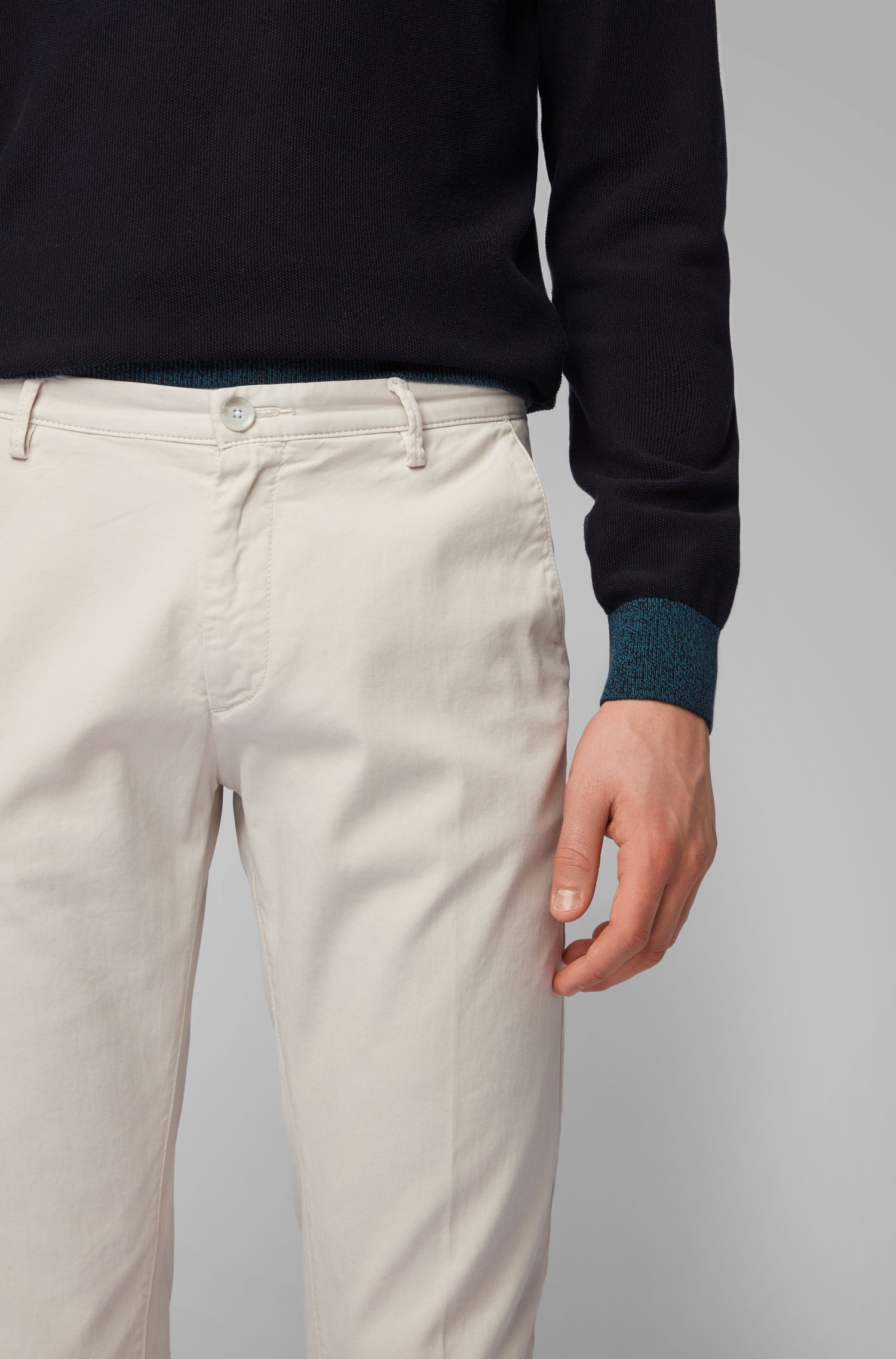 Slim-fit chinos in stretch cotton gabardine, Natural